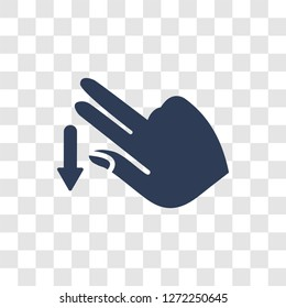 Flick Down gesture icon. Trendy Flick Down gesture logo concept on transparent background from Hands collection