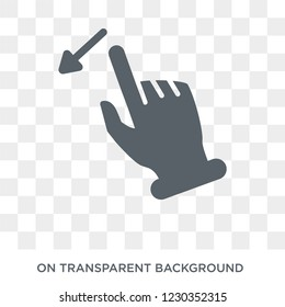Flick Left gesture icon. Trendy flat vector Flick Left gesture icon on transparent background from Hands and guestures collection.