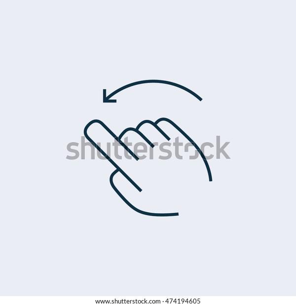 Flick left  icon,touch screen icon,vector symbol