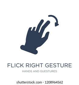 Flick Right gesture icon. Trendy flat vector Flick Right gesture icon on white background from Hands and guestures collection, vector illustration can be use for web and mobile, eps10
