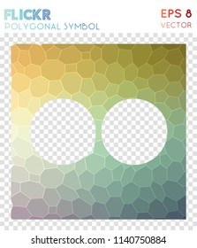 flickr polygonal symbol. amusing mosaic style symbol. adorable low poly style. Modern design. flickr icon for infographics or presentation.