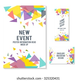 fliers brochure and envelope design mock up vector illustration. event paper invitation design. booklet template