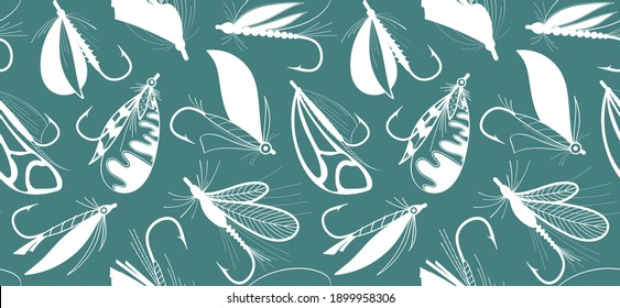 Flies for fly fishing. Seamless pattern with fishing hooks. Background with fishing tackle. Hand drawn vector stock illustration.
