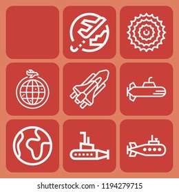Flight, airplane, world, submarine, space shuttle icon set suitable for info graphics, websites and print media and interfaces