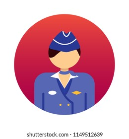 Flight Attendant Avatar Icon in Rounded Flat Style