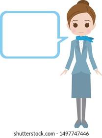 Flight attendant full body illustration and speech bubble