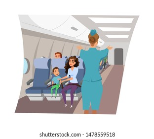 Flight attendant on plane flat vector illustration. Stewardess telling safety rules, standing in aisle cartoon character. Airline company crew member. Passengers sitting in seats, fastening belts