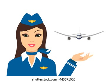 The flight attendant and the plane in a flat style icon isolated on a white background. vector illustration