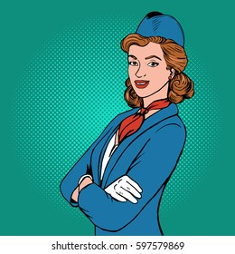 Flight attendant pop art style. Hand drawn comic book imitation vector illustration