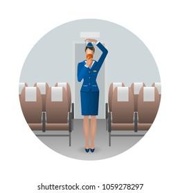 Flight Attendant Safety Instructions, flight attendant demonstrate the oxygen mask. Safety on board