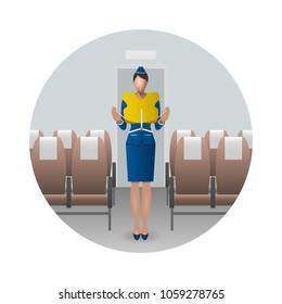 Flight Attendant Safety Instructions, flight attendant demonstrate the life jacket. Safety on board