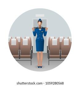 Flight Attendant Safety Instructions, flight attendant demonstrate the seat belt. Safety on board