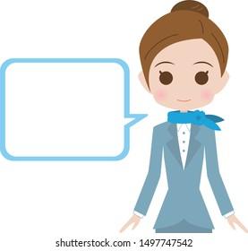 Flight attendant upper body illustration and speech bubble