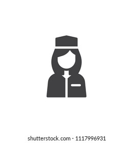 Flight attendant vector icon. filled flat sign for mobile concept and web design. Stewardess aviation crew member simple solid icon. Symbol, logo illustration. Pixel perfect vector graphics