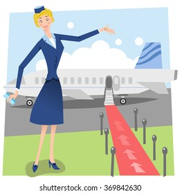 Flight attendant welcomes viewer to enter airplane on red carpet walk on airfield (Fifties style)