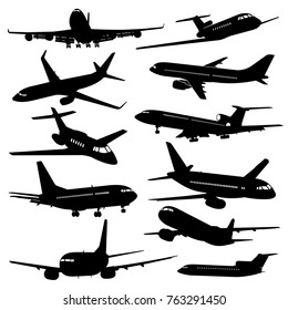 Flight aviation vector icons. Airplane black silhouettes in sky. Illustration of airplane flight, aviation and aircraft