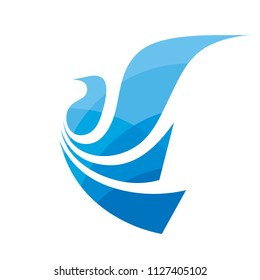 Flight bird - concept logo template vector illustration. Abstract wings creative sign. Dove symbol. Graphic design element.