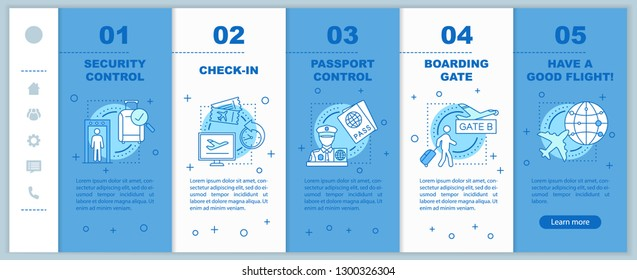 Flight boarding process app page screen vector template. Security, passport control, online or airport check-in walkthrough website with linear illustrations. UX, GUI smartphone interface concept