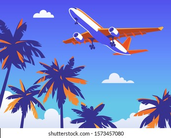 Flight by plane abroad for rest. Beach with palm trees with blue background. Vector illustration for the billboard