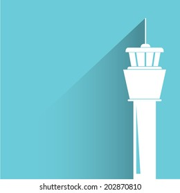flight control tower, blue shadow and flat theme