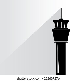 flight control tower on white background, flat and shadow theme