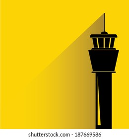 flight control tower on yellow background, shadow and flat style