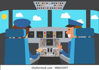 Flight Deck of modern aircraft cockpit. Pilot and copilot in plane at work. Airplane. Vector illustration