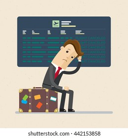 Flight delayed, postponed, canceled. Businessman or manager is very  upset.  Illustration, vector, flat