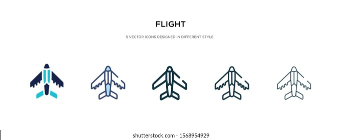 flight icon in different style vector illustration. two colored and black flight vector icons designed in filled, outline, line and stroke style can be used for web, mobile, ui