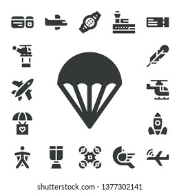 flight icon set. 17 filled flight icons.  Collection Of - Plane ticket, Helicopter, Plane, Parachute, Feather, Rocket launch, Wingsuit, Airplane, Oxygen mask, Belt, Drone, Control tower