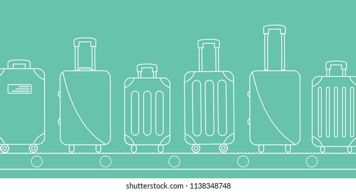 flight icons. line & outline luggage bag cover. contour suitcase set print on conveyor belt. Baggage claim at terminal airport vector travel bags. blue background flat design simple holiday vacation