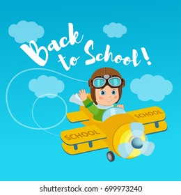 Flight Of Imagination. Welcome Back To School Vector Illustration. Banner Education Concept. Little Pilot Kid On Airplane.