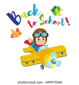 Flight Of Imagination. Welcome Back To School Funny Vector Illustration. Banner Education Concept. Little Pilot Kid On Airplane.