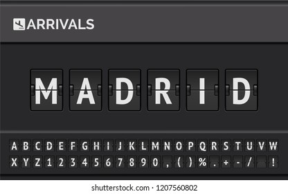 Flight info of destination in Europe: Madrid typed by airport flip board mechanical font with airplane timetable icon . Vector illustration