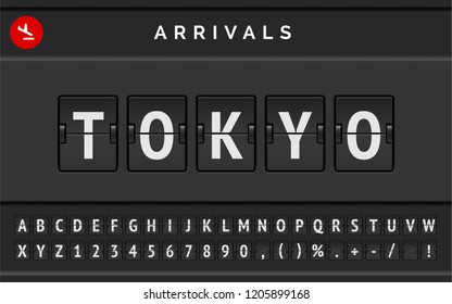 Flight info of destination in Japan: Tokyo typed by airport flip board mechanical font with airplane arrival icon . Vector illustration