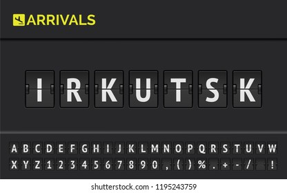 Flight info of destination in Syberia : Irkutsk typed by airport flip board mechanical font with airplane arrival icon. Vector