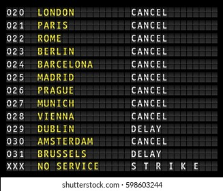 Flight information on airport information display, canceled flights, strike, vector