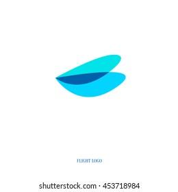 Flight logo. Transparent dragonfly wings. The emblem of lightness. Light aircraft.