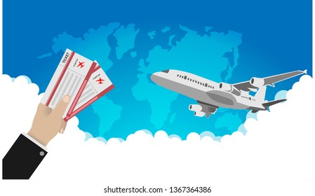 Flight online booking ticket icon with passport and ticket graphic word,Vector illustration
