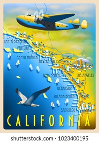 Flight over the coast of California. Retro poster. Handmade drawing vector illustration.