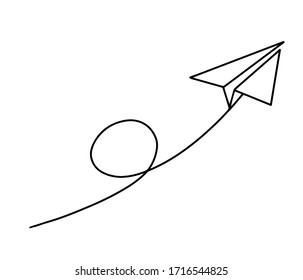 Flight of a paper plane with one continuous line drawing on white background