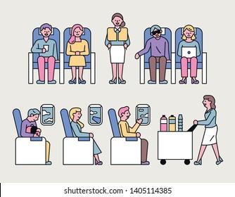 flight passengers and stewardesses providing services. flat design style minimal vector illustration
