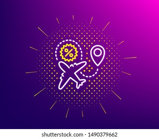 Flight sale line icon. Halftone pattern. Shopping discount sign. Clearance symbol. Gradient background. Flight sale line icon. Yellow halftone pattern. Vector