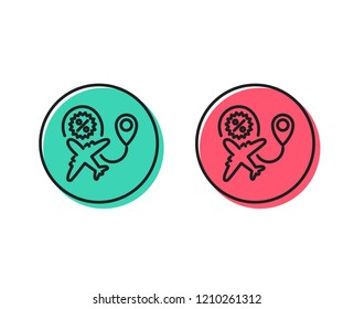 Flight sale line icon. Shopping discount sign. Clearance symbol. Positive and negative circle buttons concept. Good or bad symbols. Flight sale Vector