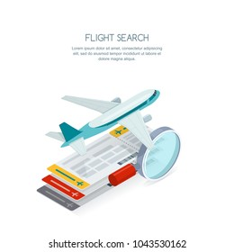 Flight search and airplane tickets service concept. Vector 3d isometric style isolated illustration of multicolor tickets, flying aircraft and magnifier. Tourism icons.