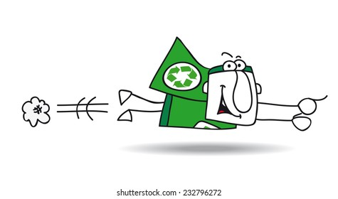flight of Super recycling hero. Super Recycling Hero is flying very fast ! It's an emergency. He can help your company to recycling her wastes !