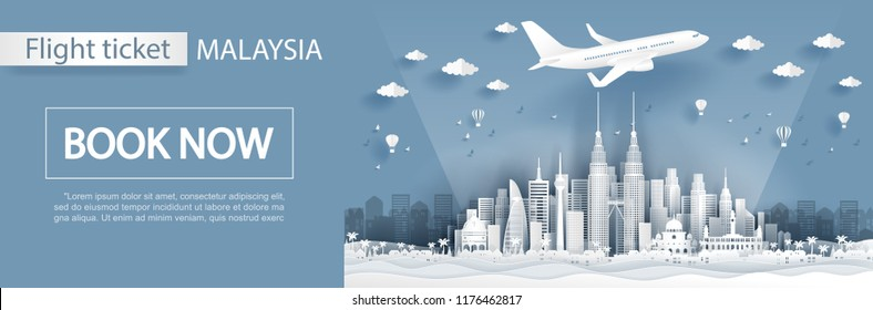 Flight and ticket advertising template with travel to Malaysia concept, Malaysia famous landmarks in paper cut style vector illustration