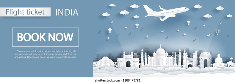 Flight and ticket advertising template with travel to India concept, India famous landmarks in paper cut style vector illustration
