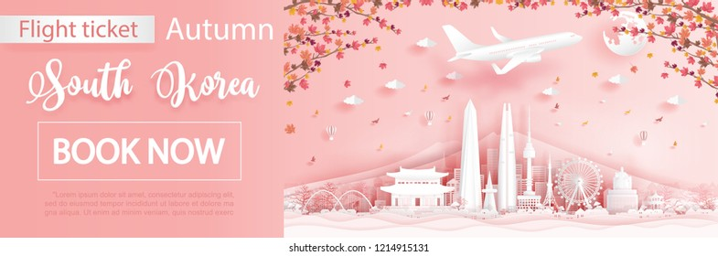 Flight and ticket advertising template with travel to Seoul, South Korea  in autumn season with falling maple leaves and  famous landmarks in paper cut style vector illustration