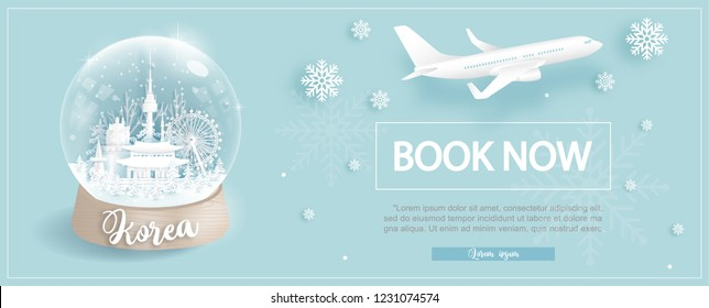 Flight and ticket advertising template with travel to South Korea in Winter season with famous landmarks in paper cut style vector illustration